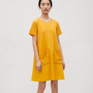 COS Mustard Yellow Tee Shirt Dress With Pockets